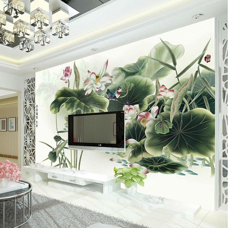 Buy classic lotus painting wallpaper for Waterproof wallpaper for bedrooms