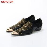 OKHOTCN Men Leather Shoes Black Pointed Toe Shoes Gold Patchwork Men Dress Shoes Fashion Formal Oxford