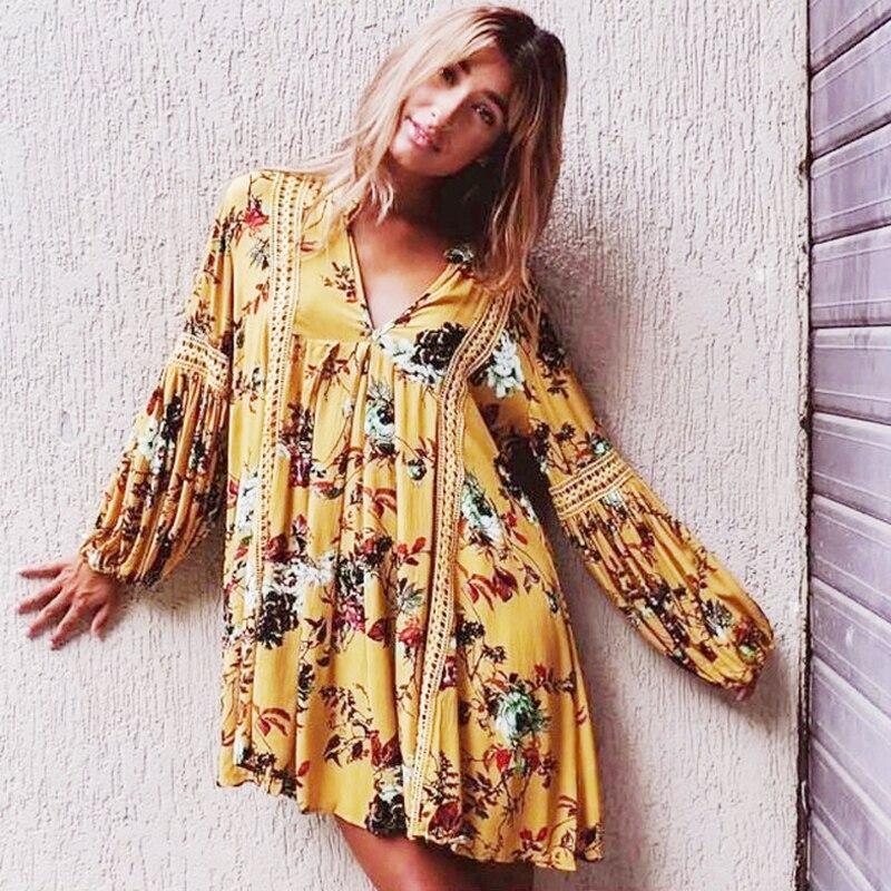 Boho vestido 2017 Floral vintage imprimir Casual vestidos curtos amarelo Com Decote Em V lanterna Manga comprida solta marca vestido mulheres vestidos