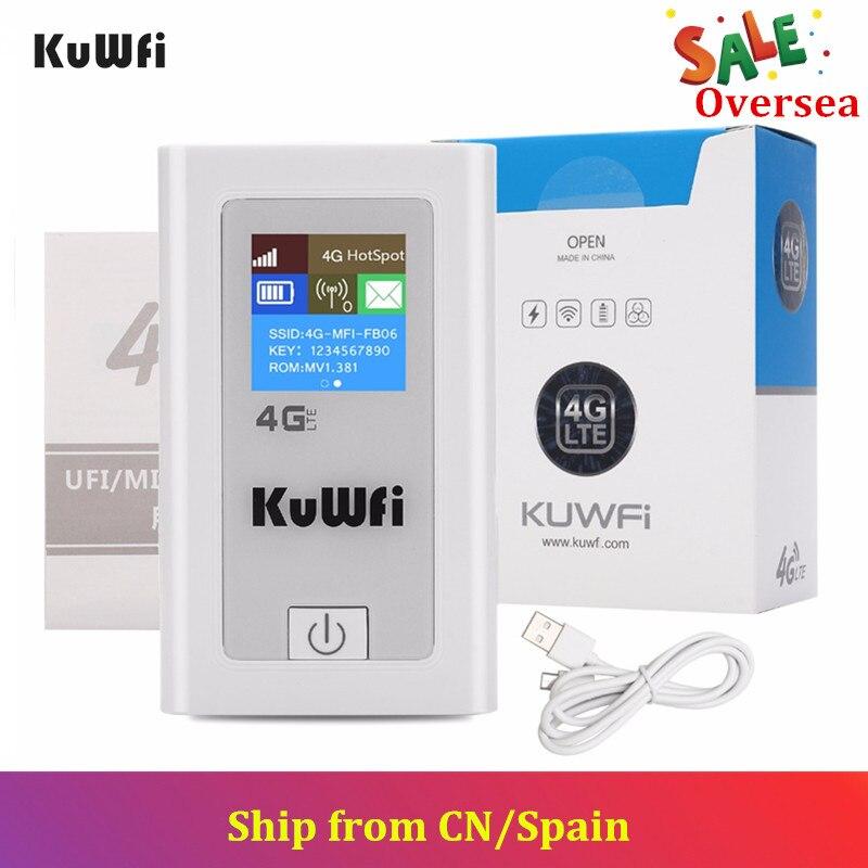 Banco Do Poder KuWFi 4G LTE Router 3G/CAT4 4G Cartão Sim Pocket Router Wi-fi 150Mbps wi-fi Hotspot móvel com Slot Para Cartão SIM