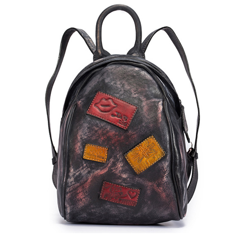 High Quality Cowhide Daypack Rucksack Knapsack Small Geometry Patchwork Travel Brush Color Bag Women Backpack Genuine Leather