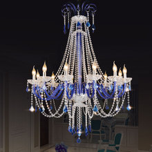 European LED crystal chandelier villa deco glass living room hanging lights Hotel Blue pendant luminaire bedroom suspended lamp