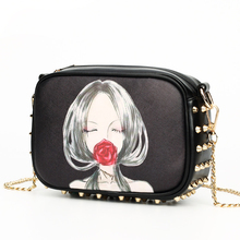 Edgy Classic Rivet Trendy Fashion PU Crossbody Bag Women Cute Small Size Casual Shoulder Bag Female Cartoon Square Chain Bag