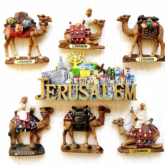 Israel la antigua ciudad de Jerusalén siete candelabros 3D imán de nevera viaje recuerdo refrigerador pegatinas magnéticas