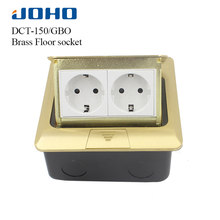 JOHO Socket Pop Up Floor Socket Outlet Box Residential/General-Purpose With 16A European Socket And RJ45 Data Brass Panel(China)