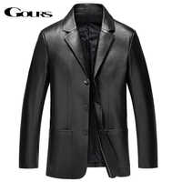 Gours Winter Genuine Leather Jacket for Men Fashion Brand Leather Suit Blazers Black Sheepskin Jackets and Coats New 4XL