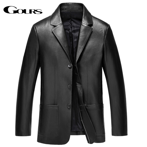 Gours Winter Genuine Leather Jacket for Men Fashion Brand Leather Suit Blazers Black Sheepskin Jackets and Coats New 4XL Pakistan