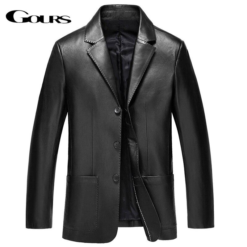 Gours hiver veste en cuir véritable pour hommes marque de mode en cuir costume Blazers noir en peau de mouton vestes et manteaux nouveau 4XL