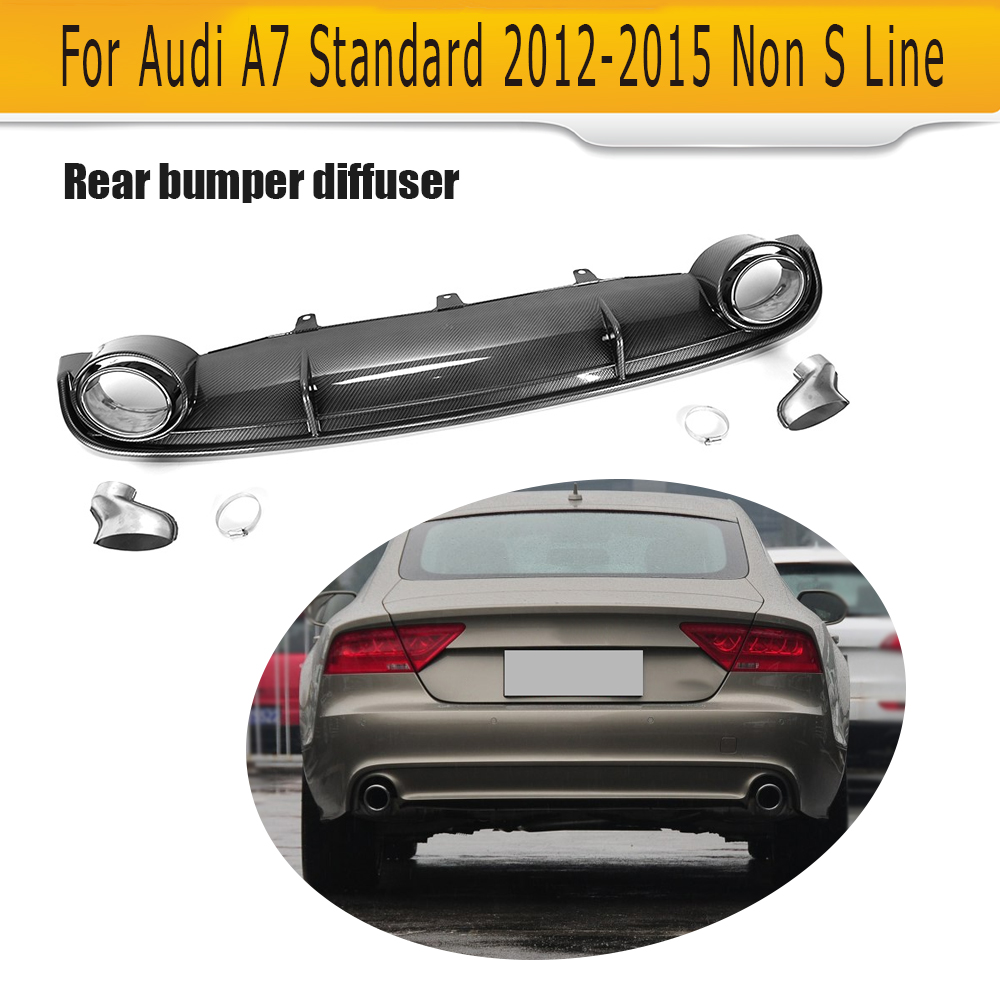 Carbon Fiber Look <font><b>Rear</b></font> Bumper <font><b>Diffuser</b></font> Lip Spoiler With Exhaust Tips for <font><b>Audi</b></font> <font><b>A7</b></font> Standard Hatchback 4 Door 12-15 FRP Black image