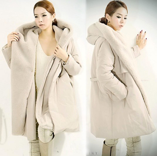 New Arrival2013 Korean Winter Jacket Women Long White Designer Fashion Slim Padded Hooded Cotton Coat Jacket Free Shipping N919