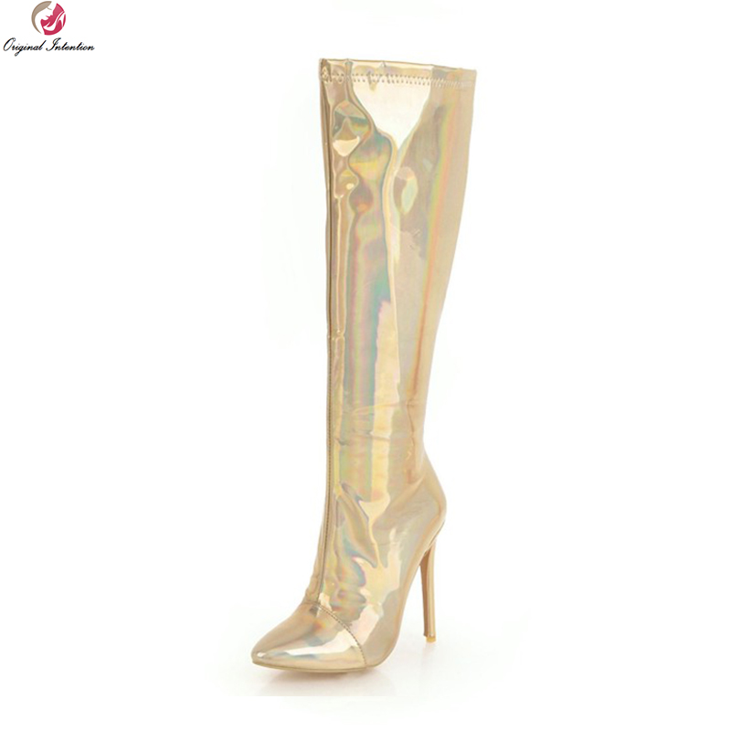 Original Intention Fashion Women Knee High Boots Pointed Toe Thin Heels Boots Elegant Gold Silver Shoes Woman Plus US Size 3-16 цена