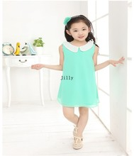 kdis new 2019 Summer girl party Pleated Chiffon wholesale Dress With Paillette Collar Children Colthes For Kids 6colors