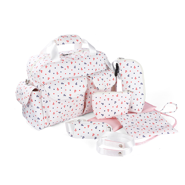 7pcs/suit Large Capacity Baby Diaper Bag Changing Mummy Maternity Diaper Organizer Nappy Bags Stroller Bags Free Shipping