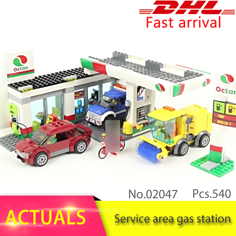 LEPIN CITY Series 540pcs Service area gas station Model Building Blocks set Bricks Toys For Children 60132 Gift lepin 02020 city series the new police station set 965pcs children educational building bricks blocks boy toys model 60141 gift