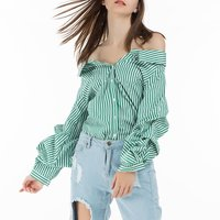 2015 New Brand Design Women Casual Europe Stripe Plaid Printed Plaid Shirt Lady Vintage Long Sleeve