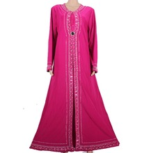 Muslim Abaya Kaftan Islamic Clothing for Women Beading Design Turkish Maxi Abaya in Dubai Kaftan Dress Rose Red 1258