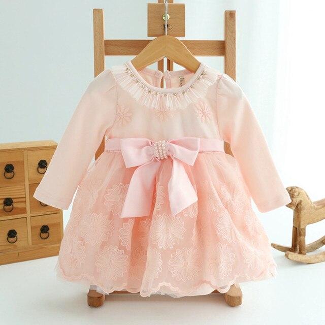 Кружева bownot ребенка платье принцессы детская одежда осень для 0-2 новорожденных девочек платья детей детская одежда