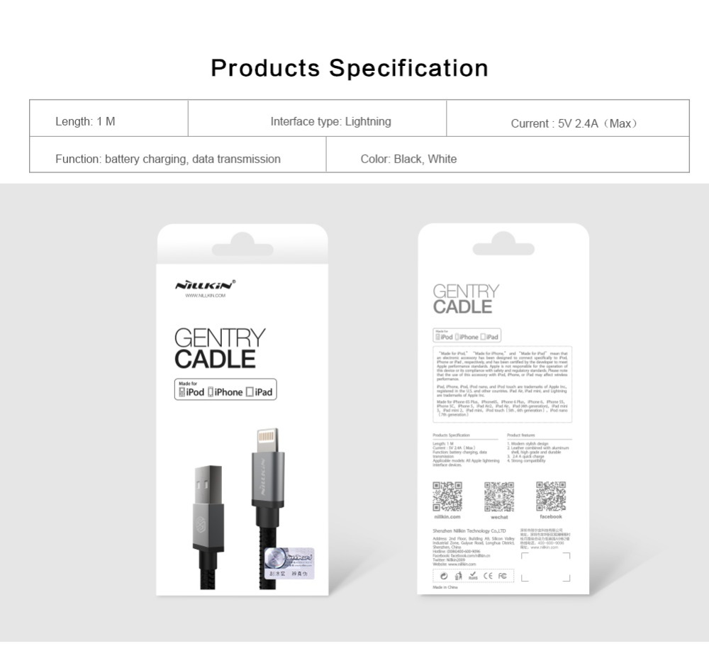 Nillkin mfi certification gentry cable for apple for lightning nillkin mfi certification gentry cable for apple for lightning port devices for apple iphone ios 8ipadipodiphone 66s plus in mobile phone cables from 1betcityfo Image collections