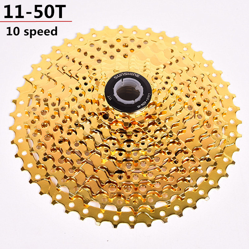 купить Bicycle freewheel bike flywheel 10 speed 11-50T Cassette gold color mountain bike freewheel sprocket mtb cog 50T недорого