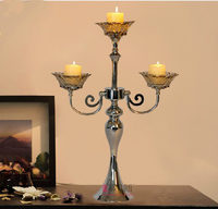 Silver Plated Alloy Metal Glass 3 Light Candle Stand Candle Holder Candlesticks Home Decoration