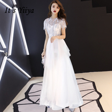 It's YiiYa Evening Dresses Elegant Lace Illusion Short Sleeves Wedding Formal Dress Sequined A-line Zipper Long Party Gowns E409