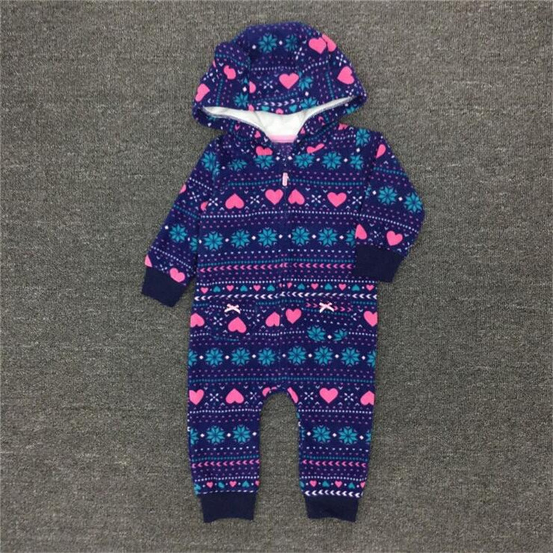 Children clothing kids romper baby boys girls jumpsuits cotton romper with hooded Polar fleece fabrics baby jumpsuits with print