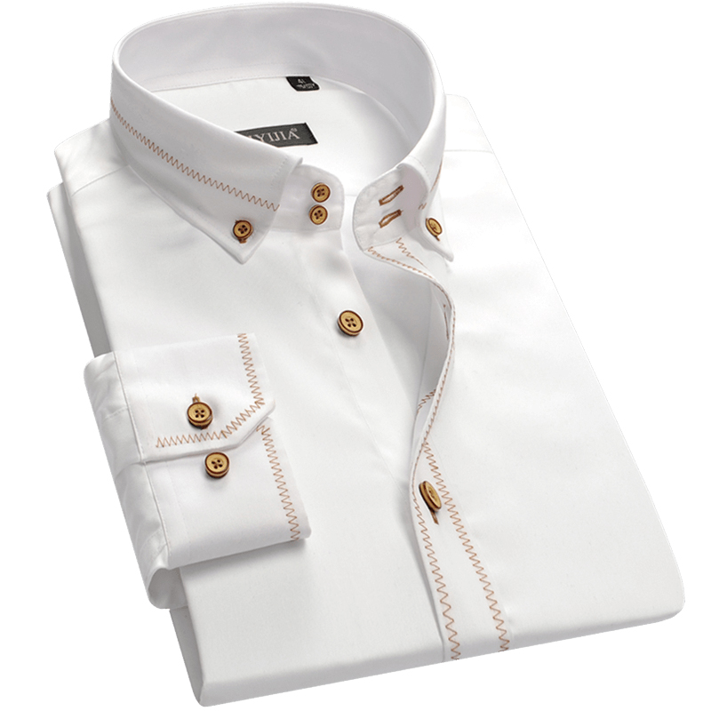 New Fashion design men dress shirts quality breathable soft cotton button collar long sleeve party white male formal shirts