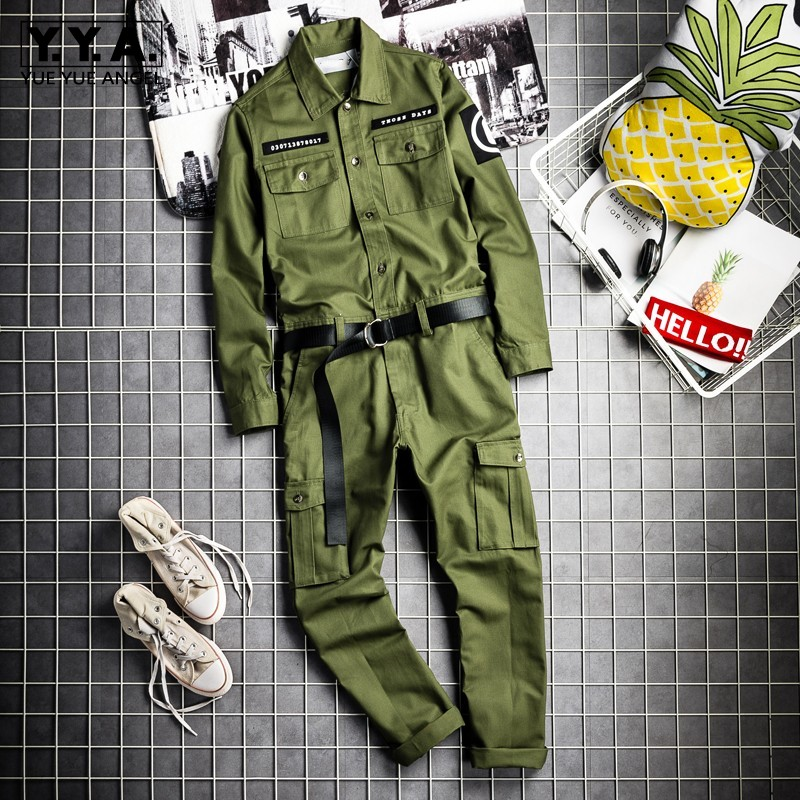 Fashion Mens Hip Hop One Piece Cargo Jumpsuit Long Sleeve Streetwear Man Joggers Bib Overalls Sashes Pockets Work Rompers Pants
