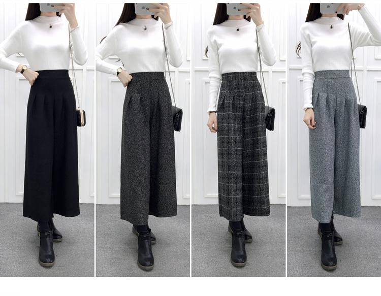 ZHISILAO Loose Trousers Women Winter Warm Wool Wide Leg Pants Maxi Plaid High Waist Trousers Elastic Thick Black Pants Casual 11