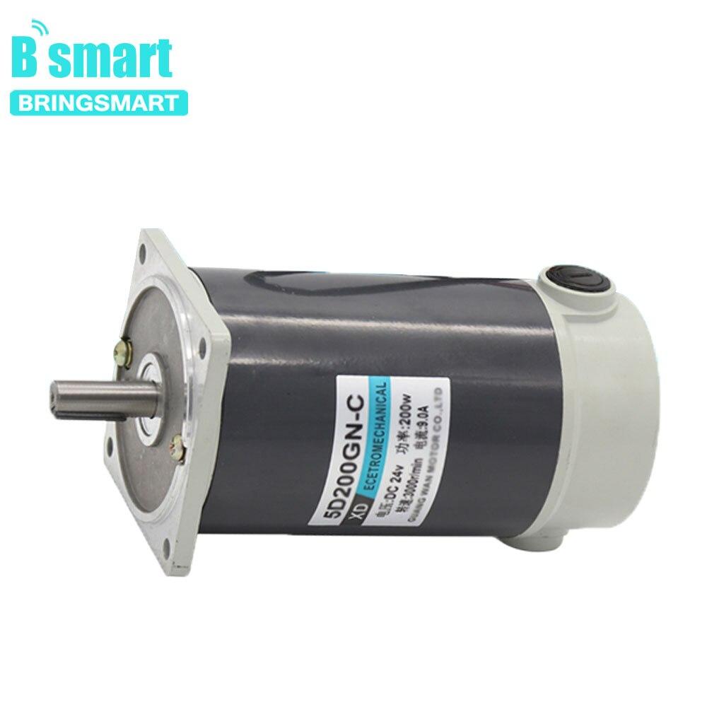 Bringsmart 12V24V DC Motor 200W High Torque High Speed Motor Permanent Magnet Positive and Negative Micro Motor XD 5D200GN CC
