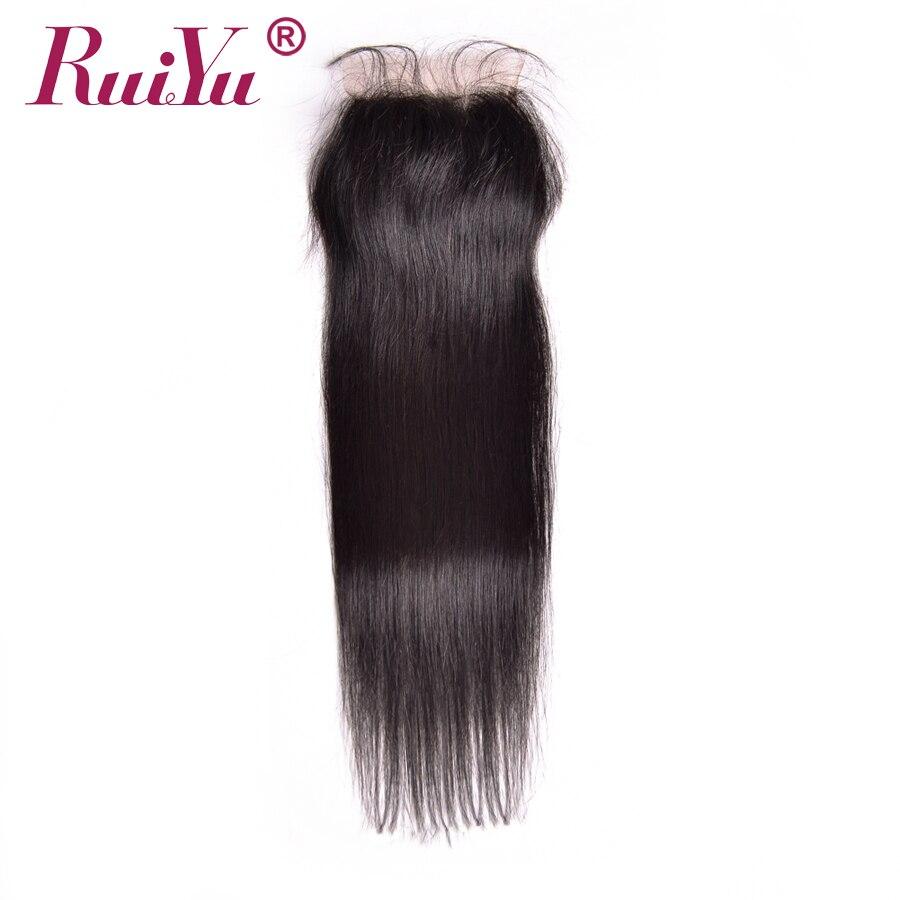 RUIYU Hair Peruvian Lace Closure Straight Human Hair Closure With Baby Hair 4 x4 Free Part