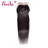 RUIYU Peruvian Lace Closure Straight Hair Non Remy Human Hair Closure With Baby Hair 8 22