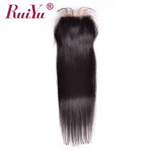 RUIYU Hair Peruvian Lace Closure Straight Human Hair Closure With Baby Hair 4''x4'' Free Part Natural Color Non Remy Hair(China)