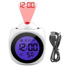 Projection Alarm Clock With Led Lamp Digital Voice Talking Function LED Wall Ceiling Snooze Temperature Display