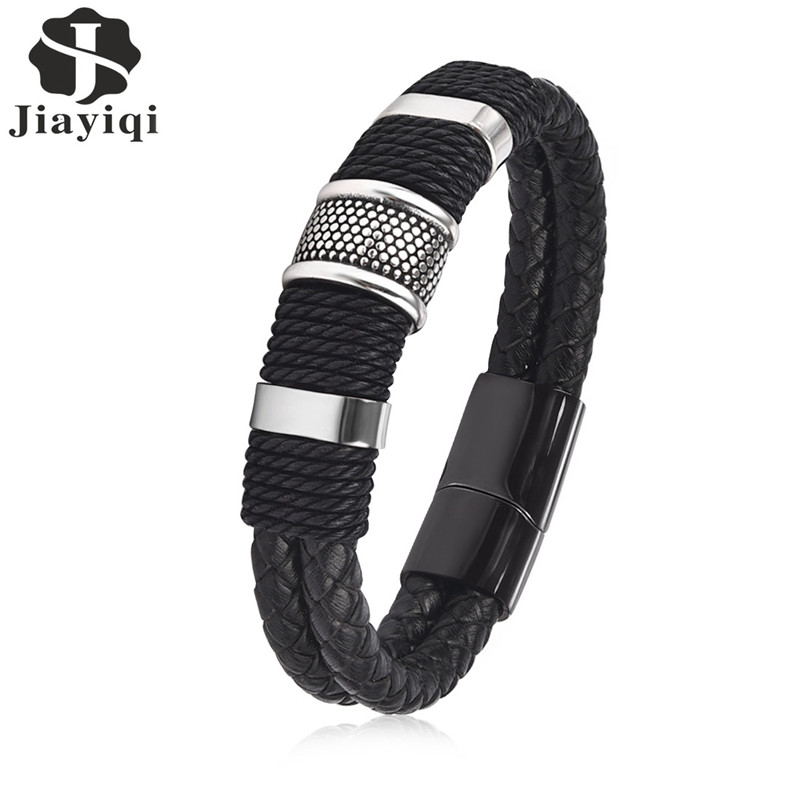 Jiayiqi 2017 Fashion Black Braid Woven Leather Bracelet Titanium Stainless Steel Bracelet Men Bangle Men Jewelry Vintage Gift opk biker stainless steel men bracelet