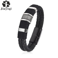 Jiayiqi Мода 2017 г. черной тесьмой тканые кожаный браслет Титан Нержавеющаясталь браслет Для мужчин Jewelry Винтаж подарок