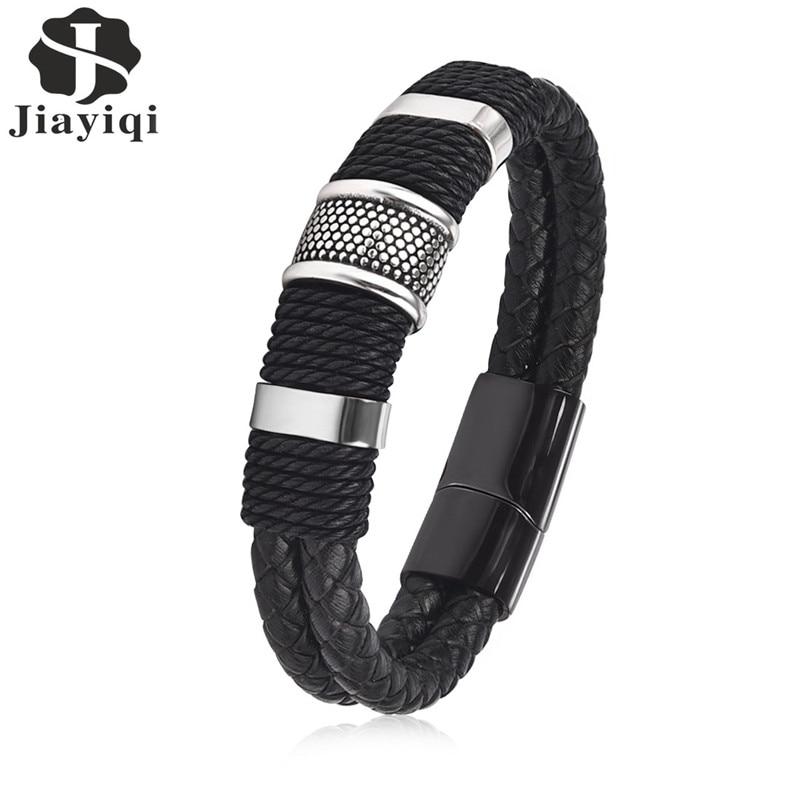 Jiayiqi 2017 Mode Schwarz Braid Woven Leder Armband Titan Edelstahl Armband Männer Armreif Männer Schmuck Vintage Geschenk