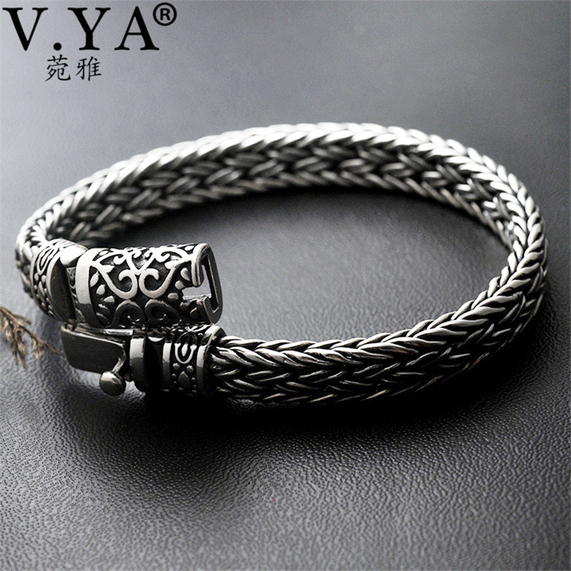 V YA Cool 925 Sterling Silver Wide Heavy Bracelets for Men Weave Design Male Bracelet Thai
