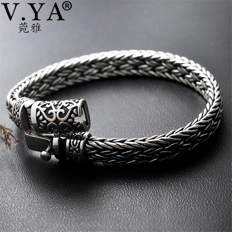 V.YA Cool 925 Sterling Silver Wide Heavy Bracelets for Men Weave Design Male Bracelet Thai Silver Jewelry 21cm 22cm Hot Sale