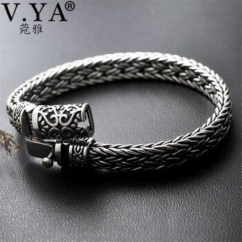 f4214d2277c4 V YA bien de Plata de Ley 925 de ancho pesado pulseras para hombres diseño  tejido de hombre pulsera de la joyería de plata tailandesa 21 cm 22 cm  Venta ...