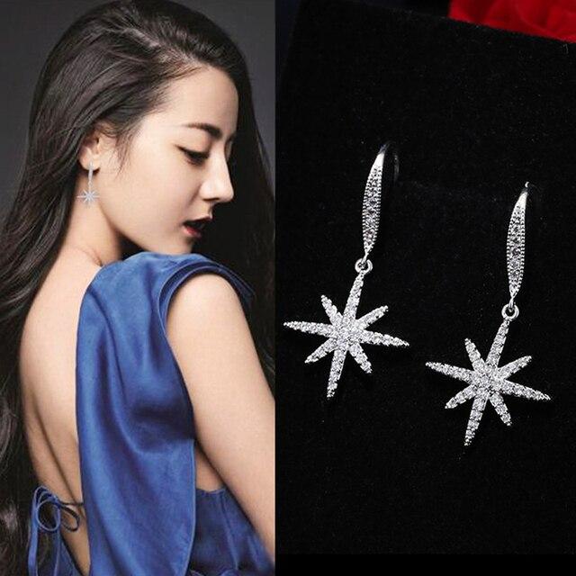 DreamySky 100% Real Pure 925 Sterling Silver Jewelry Korean Big Snowflake Earrings For Women Wedding Girls Statement Jewelry