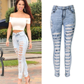 Olrain  Women Sexy High Waist Hole Ripped Denim Jean Pants Slim Hollow Out Skinny Denim Trousers Plus Size