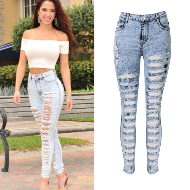 6ab590189d9 Olrain Women Sexy High Waist Hole Ripped Denim Jean Pants Slim Hollow Out Skinny  Denim Trousers Plus Size