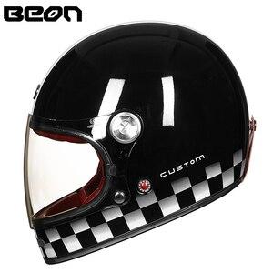Image 3 - Мотоциклетный шлем BEON, полностью из стекловолокна, винтажный, ультралегкий, в стиле ретро, для езды на мотоцикле