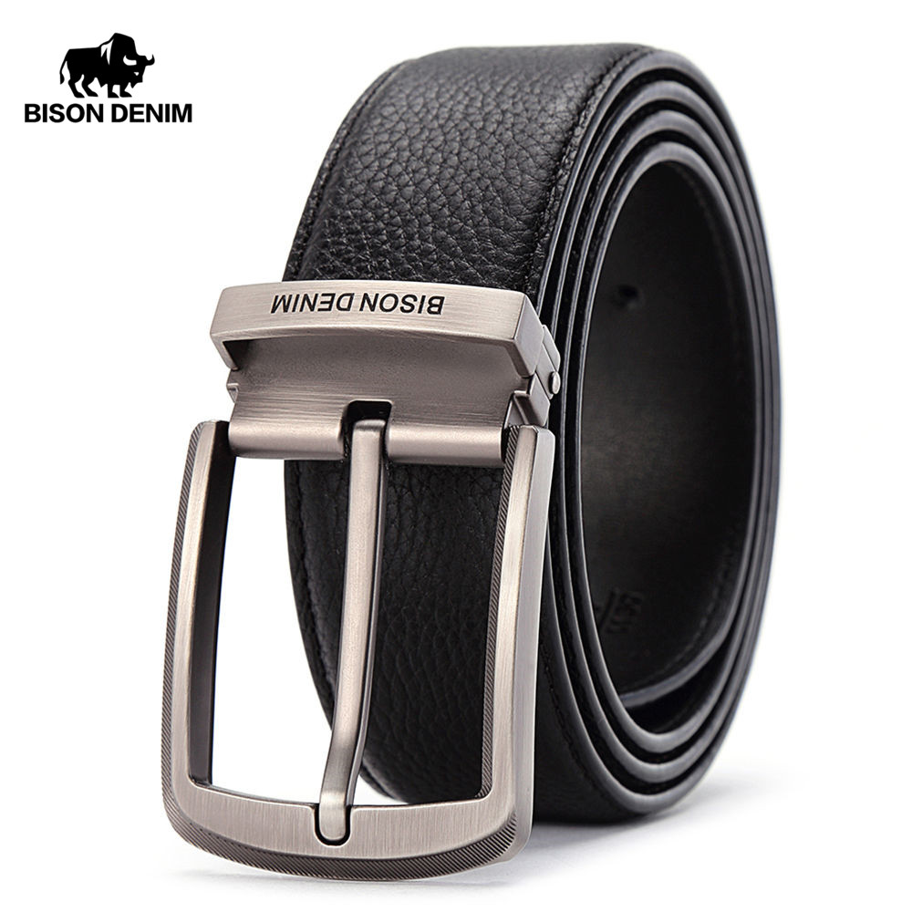 BISON DENIM Brand Leather Belts Men Pin Buckle Male Waistband Black Genuine Leather Men's Belt 3.8cm Width N71315