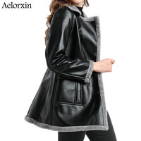 Black Women Faux Leather Berber Suede Shearling Coats Vintage Motorcycle Thicken Jacket Artificial Fur Warm Coats