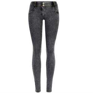 Image 2 - סקסי נמוך מותניים ג ינס אישה אפרסק לדחוף את ירך סקיני ג ינס מכנסיים החבר ז אן לנשים אלסטי חותלות אפור ג ינס בתוספת גודל