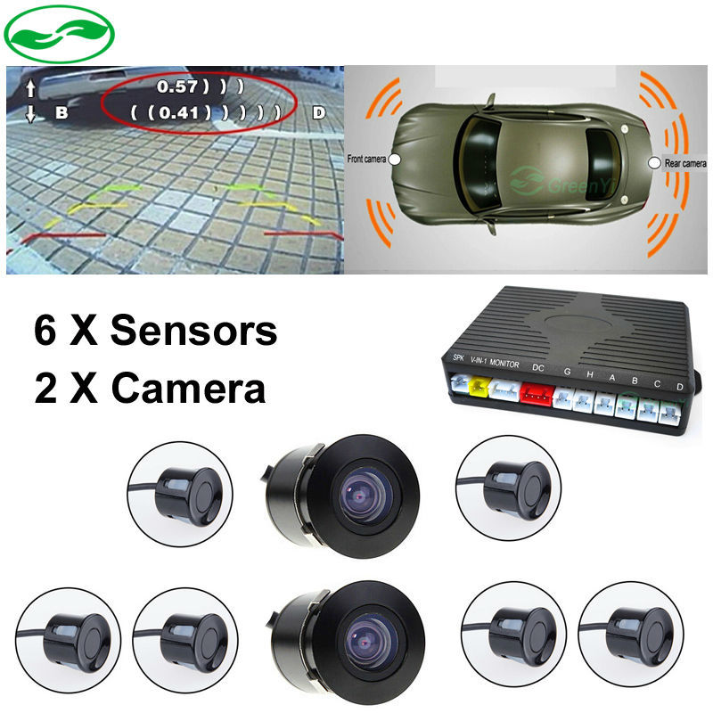 Double CPU Car Video Parking Sensor Reversing Radar Front Rear 6 Sensors Front Rear Camera, Voice Alarm and Digital Distance double cpu 4 car parking system kit sensors with led display