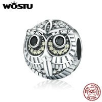WOSTU Brand Design 925 Sterling Silver Wise Owl Animal Beads Fit Original WST Charm Bracelet DIY