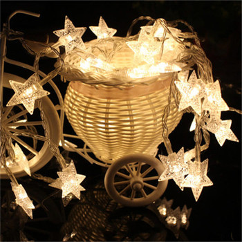 NDTUSMZ fair led string lamp five star copper wire light 3m 20leds 3V AA battery Warm white holiday